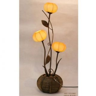 Mulberry Rice Paper Ball Handmade Three Flower Bud Design Art Shade Yellow Round Globe Lantern Brown Asian Oriental Decorative Accent Home Decor Bedroom Table Floor Uplight Lamp