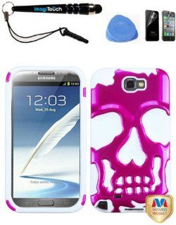 IMAGITOUCH(TM) SAMSUNG Galaxy Note II (T889 I605 N7100) Metallic Hot Pink Solid White Skullcap Hybrid Soft Silicone Skin Hard Shell Case Protector Cover 4 Item Combo AntiGlare Screen Protector, Stylus Pen, Pry Tool, Phone Cover Cell Phones & Accessor