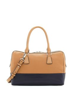 Dara Colorblocked Leather Satchel Bag, Tan/Black   Charles Jourdan