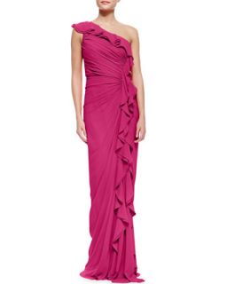 Womens One Shoulder Ruched Ruffle Front Silk Gown, Fuchsia   Badgley Mischka