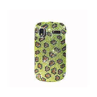 Samsung Focus i917 SGH I917 Bling Gem Jeweled Jewel Crystal Diamond Yellow Leopard Skin Cover Case Cell Phones & Accessories