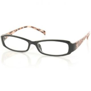 Ladies Cool Leopard Print Slim Reading Glasses Eyeglasses Clear Lens Black +1.75 Clothing