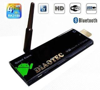 DIAOTEC(TM) CX 919 Mini PC Android TV Dongle. Quad Core RK3188 ARM Cortex A9 process.UP to 1.6 1.8GHZ, Mali 400MP4 Quad core GPU, Support Opengl ES 1.1/2.0, Openvg 1.1 Opencl;RAM DDR3 2GB;Nand Flash 8GB;Bluetooth 2.0; Google Android 4.2  Tablet Computers