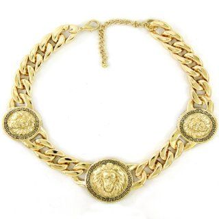 "Basketball Wives, Love and Hip Hop Atlanta, Rihanna, Nicki Minaj, Draya 18""L Celebrity Inspired Gold 2.5""L x 2.5""W Lion Head Necklace Jewelry"