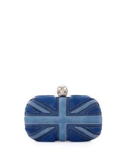 Brittania Suede & Denim Skull Box Clutch, Blue Denim   Alexander McQueen