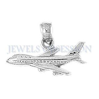 Rhodium Plated 925 Sterling Silver Airplane Pendants Jewels Obsession Jewelry
