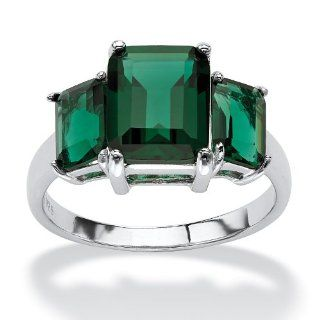 Emerald Cut Green Glass Sterling Silver Mount St. Helens Inspired Triple Stone Ring Jewelry