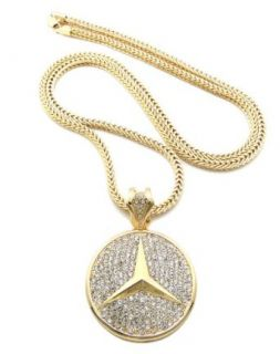 "Iced Out Gold Tone Mercedes Benz Pendant w/ 4mm 36"" Franco Chain XP933G Clothing"