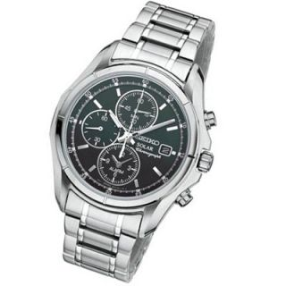 Mens Seiko Solar Alarm Silver Tone Stainless Steel Watch with Round