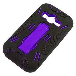 Armor Dual Layer Cover w/ Kickstand for Samsung Galaxy Rugby Pro i547, Black/Purple Cell Phones & Accessories