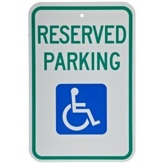 "Brady 103748 12"" Width x 18"" Height B 959 Reflective Aluminum, Green and Blue on White Federal Handicap Parking Sign, Legend ""Reserved Parking"" Industrial Warning Signs"