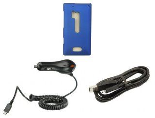 Nokia Lumia 928   Premium Accessory Kit   Blue Hard Shell Case + ATOM LED Keychain Light + Micro USB Cable + Car Charger Cell Phones & Accessories