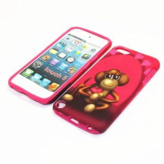 For Apple ipod Touch 5th 2 in 1 Hybrid Cover Case Falling in Love Monkey PC + Hot Pink Silicone   Players & Accessories