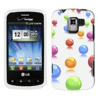 LG Optimus Q Colorful 3D Balls on Black Hard Case Phone Cover Cell Phones & Accessories