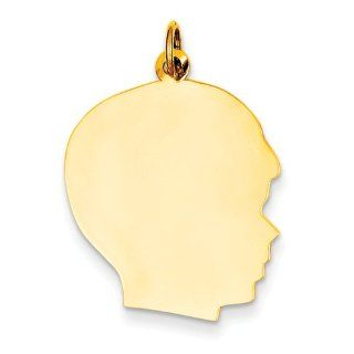 10k Plain Large .013 Gauge Facing Right Engravable Boy Head Charm, Best Quality Free Gift Box Satisfaction Guaranteed Jewelry