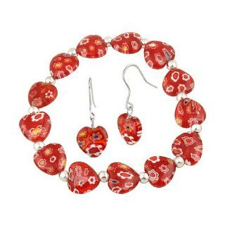Sterling Silver Red Murano Glass Heart Millefiori Flower Stretch Bracelet & Earrings Set Jewelry