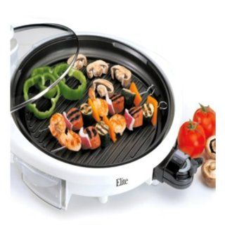 Maxi Matic EMG 980W Elite Gourmet 14 Inch Round Health Grill with Non Stick and Glass Lid, White Kitchen & Dining