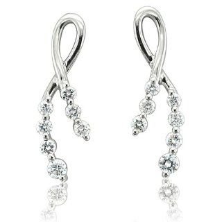 14k White Gold 7 Stone Ribbon Journey Diamond Earrings (GH, I1 I2, 0.38 carat) Diamond Delight Jewelry