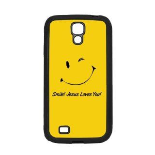 Samsung Galaxy S4 Black Case Smile Jesus Loves You Cell Phones & Accessories