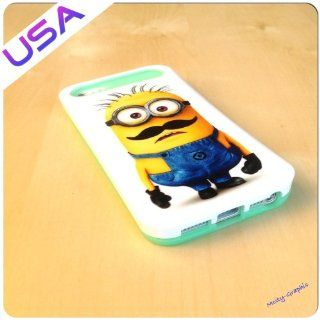 Custom Design Iphone 5 IGLOW Case @ Minions Despicable Me 2 Mustache Heavy duty Iphone 5 Cover   Light Blue