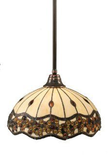 Toltec Lighting 26 BC 997 Stem Pendant Light Black Copper Finish with Roman Jewel Tiffany Glass, 16 Inch   Ceiling Pendant Fixtures