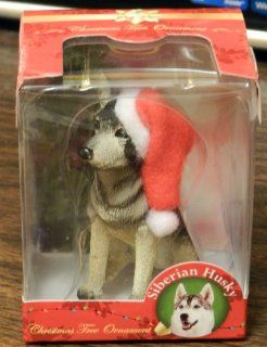 SIBERIAN HUSKY DOG WEARING SANTA HAT~CHRISTMAS TREE ORNAMENT~NEW IN ORIGINAL BOX  Decorative Hanging Ornaments