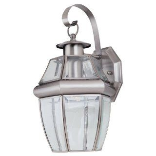 Sea Gull Lighting 8037 965 Single Light Lancaster Small Classic Outdoor Wall Lantern, Clear Beveled Glass and Antique Brushed Nickel   Wall Porch Lights