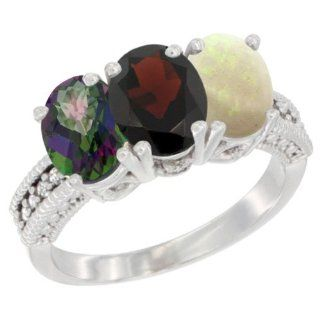 10K White Gold Natural Mystic Topaz, Garnet & Opal Ring 3 Stone Oval 7x5 mm Diamond Accent, sizes 5   10 Jewelry