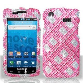 Premium   Samsung i897/Captivate Full Diamond Hot Pink Plaid Cover   Faceplate   Case   Snap On   Perfect Fit Guaranteed Cell Phones & Accessories