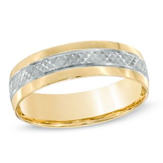 Mens 6.0mm Comfort Fit Wedding Band in 10K Two Tone Gold   Zales