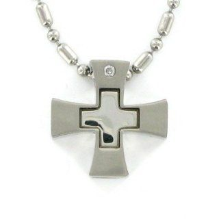 "Stainless Steel Polished Cross Pendant Necklace with Inner Cross Pendant Men's Religious Jewelry Stainless Steel Jewelry Gift Boxed.Chain Necklace Type Stainless Steel Beaded Chain Necklace w/Chain Necklace 22"" Length Gift Boxed. Jewelry"
