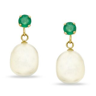 5mm Cultured Freshwater Pearl and Emerald Drop Earrings in 14K