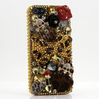 Luxury iphone 5 3D Swarovski Leopard Bow Red Lips Crystal Bling Case Cover AT&T Verizon and Sprint (100% handcrafted by BlingAngels) Cell Phones & Accessories