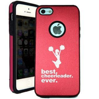 SudysAccessories Best Cheerleader Ever iPhone 5 Case iPhone 5S Case   MetalTouch Red Aluminium Shell With Silicone Inner Protective Designer Case Cell Phones & Accessories