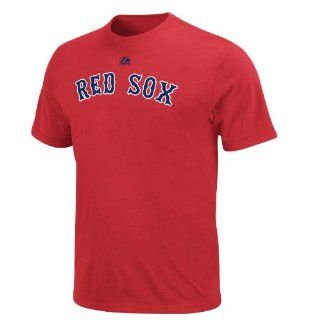 MLB J.D. Drew Boston Red Sox Adult Short Sleeve Basic Tee (Athletic Red, Small)  Sports Fan T Shirts  Clothing