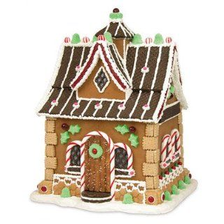 "17"" Spearmint Holly Manor Gingerbread House Table Top Christmas Decoration   Holiday Figurines"