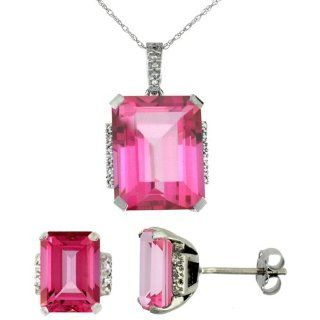 10K White Gold Natural Octagon Pink Topaz Earrings & Pendant Set Diamond Accents Earring And Pendant Sets Jewelry