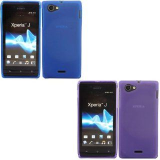 2 Pack Gel Case Cover Skin For Sony Xperia J / Blue And Purple Cell Phones & Accessories