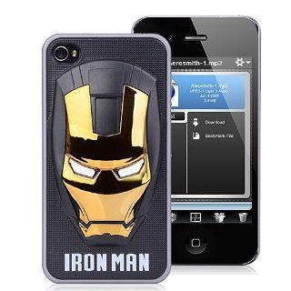 Iron Man Metallic Gold Face On Black Case Protective Hard Case Cover for iPhone 4 4S Computers & Accessories