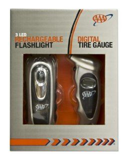 AAA Digital Tire Gauge and Rechargeable LED Flashlight Set Automotive