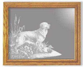 Decorative Framed Mirror Wall Decor With Golden Retriever Etched Mirror   Golden Retriever Decor   Unique Golden Retriever Gift Ideas   Ready To Hang   12'' w x 10'' h   Wall Mounted Mirrors