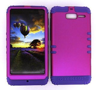 3 IN 1 HYBRID SILICONE COVER FOR MOTOROLA DROID RAZR M VERIZON WIRELESS HARD CASE SOFT LIGHT PURPLE RUBBER SKIN NEON HOT PINK LP A006 EA XT907 KOOL KASE ROCKER CELL PHONE ACCESSORY EXCLUSIVE BY MANDMWIRELESS Cell Phones & Accessories