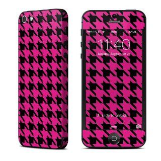 Pink Houndstooth Design Protective Decal Skin Sticker (Matte Satin Coating) for Apple iPhone 5 16GB 32GB 64GB Cell Phone Cell Phones & Accessories
