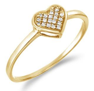 .925 Sterling Silver Yellow Gold Plated Diamond Ladies Womens Micro Pave Set Love Heart Shape Diamond Ring (.05 cttw) Jewelry