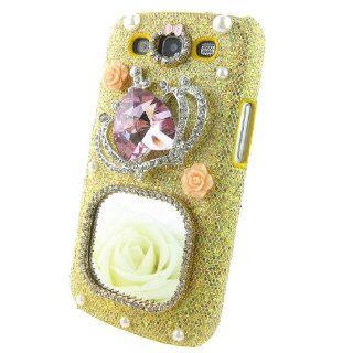 Luxury 3d Crystal Square Mirror Pink Diamond Imperial Crown Pearl Gold Shining Hard Back Case Cover for Samsung Galaxy S3 I9300+ Cleaning Cloth + 2013 Calendar Card + Pink Stylus Pen + Butterfly And Flower Dust Plug Cell Phones & Accessories