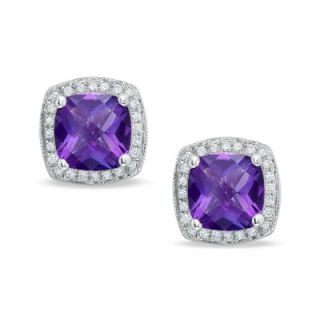 Cushion Cut Amethyst Stud Earrings in 14K White Gold with Diamond