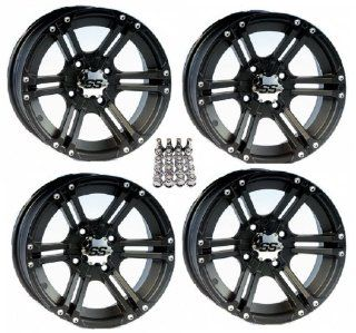 "ITP SS212 ATV Wheels/Rims Black 14"" Honda Foreman Rancher SRA Solid Axle (4) Automotive"