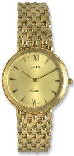 Geneve 14kt Solid Gold Mens Luxury Swiss Watch Gold Tone Dial Quartz 14k GW1200A Watches