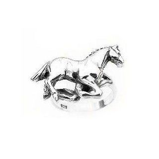Horses Sterling Silver Running HORSE Ring Band Size 5(Sizes 5, 6, 7, 8, 9) Jewelry