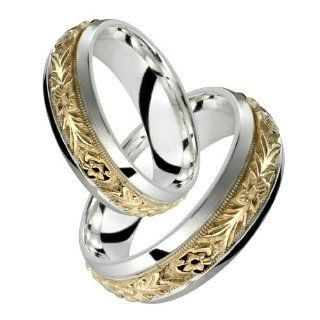 Orazio   7 mm Beautiful 10K Yellow Gold & .925 Sterling Silver wide Wedding Engagement Love Gift Band Set Stunning Two Tone Comfort Fit for men And Woman's Fashion   Elegant Floral Design in Centre Available as a Set Custom Made Choose your Size Al